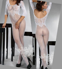 White Babydoll Dress Set Sexy Lingerie Underwear open crotch BODYSTOCKING M183