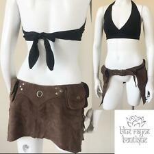 Brown Suede Leather Utility Pocket Elf Pixie Pouch Festival Belt Half Skirt #1-3