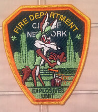"""FDNY Explosives Unit Embroidered IRISH GREEN  Patch Wile Coyote  4"""" x 4 1/2"""" W@W"""