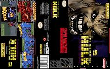 The Incredible Hulk Replacement SNES Box Art Case Insert Cover Scan Reproduction