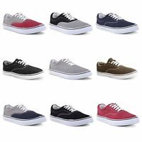 Mens New Lace Up Canvas Deck Boat Shoes Trainers Plimsolls Pumps Size UK 7-12