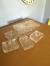 vintage glass cigarette holder box with matching ashtrays