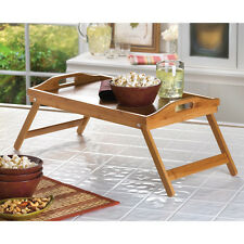BAMBOO FOLDING TRAY VERSITILE SERVING BREAKFAST IN BED KITCHEN ~D1224