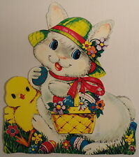 "Dennison Large 13"" Vintage Die Cut Double Sided Adorable Easter Bunny Chick Eggs"