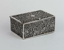 Antique MIDDLE EASTERN SILVER Filigree TRINKET / PILL BOX c1920