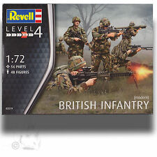 REVELL 1/72 MODERN BRITISH ARMY * 48 FIGURES 56 PIECE SOFT PLASTIC W PAINT GUIDE
