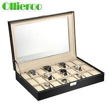 Ollieroo 24 Slot Leather Watch Box Display Case Organizer Jewelry Storage Top US