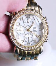 NY&C gold-tone rhinestone women's watch, fresh battery, faux chronograph