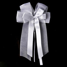 white Satin and Organza Ribbon Pew Bows for Weddings 10 in set