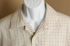 Men's tan and blue checkered Bugatchi Uomo woven loop collar camp shirt Large L