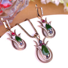 Turkish Antique Gold filled Necklace Earrings Indian Set Ethnic Lotus Flower