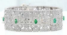 8.25CTW NATURAL EMERALD AND DIAMOND BRACELET IN 14K WHITE GOLD