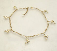 Adjustable Puffed Dolphin Rolo Chain Ankle Bracelet Anklet Real 10K Yellow Gold