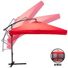 9X9' Hanging Offset Umbrella Outdoor Sun Shade w/Mesh Patio Tilt Post Gazebo Red