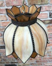 Mid Century Stained Slag Glass & Lead Hanging Swag Lamp Light W/Chain Vintage