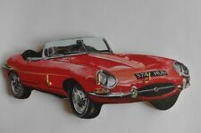 Red E Type Jag car Handmade Wooden Novelty Key Rack Made in the UK