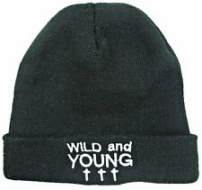 UNISEX MENS WOMENS WILD & YOUNG BLACK KNITTED BEANIE HAT, MA007