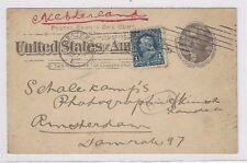 1897 UX12 Postal Card, Grand Rapids Michigan to Amsterdam Denmark Netherlands