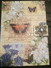 PUNCH STUDIO LINED JOURNAL DIARY BUTTERFLY FLORAL JEWELED HARD COVER 8.5x6