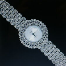 "Superb 925 Silver Wrist Watch With Marcasite 26.6 Grams 7"" Inch Wide In Gift Box"