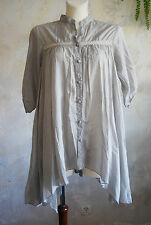 Vintage byFe gorgeous grey tent lace embroidery asymmetric floaty hem mori shirt