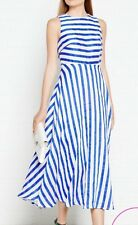 L K Bennett Harpa Full Midi Dress Uk 8 BNWT Blue Linen Summer Beautiful ASO
