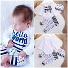 Cute Toddler Baby Boy Girl Cotton Long Sleeve Romper Pants Hat 3Pcs Outfits Set