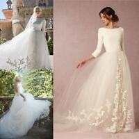 New 3/4 Long Sleeves Garden Wedding Dresses A-Line Tulle Appliques Bridal Gowns
