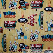 BonEful FABRIC FQ Cotton Quilt Brown Retro Bowling Ball Pin VTG Game Sport Shoes