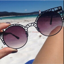 "BLACK ""FLEUR Sunglasses"" womens cat eye sexy hot ronette metal caged retro"