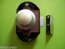 x5 NICKLE PUSH BUTTON CUPBOARD CATCHES COMPLETE SET, MOTORHOME, CARAVAN,