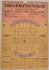 1869 Paper Perpetual Calendar Wheel Yonkers New York Fire Insurance Connecticut