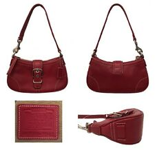 Coach Red Leather Hampton Demi Buckle Shoulder Baguette Bag 7542