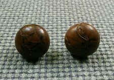 Pair Vintage Tan Brown Leather Football Buttons Coat Cardigan Waistcoat 23mm