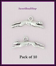 10 Antique Silver Colour 9 x 25mm Greyhound Racing Dog 3D Charms