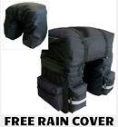 HEAVY DUTY 3 IN 1 WATERPROOF REAR BIKE PANNIER BAGS WITH RAIN COVER BLACK/GREY