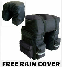 HEAVY DUTY 3 IN 1 WATERPROOF REAR BIKE PANNIER BAGS WITH RAIN COVER BLACK/GREY