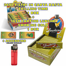 Cartine SMOKING Gold Lunghe oro + Filtri di carta MAD 4 Chilling Time RASTA