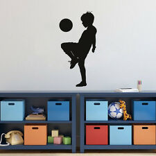 Playing Football Soccer Wall Sticker Boys Room Decal Home Art Decor Vinyl Mural