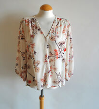 Ladies H&M Cream Floral Blossom 3/4 Sleeve Blouse Floaty Chiffon Smart Size 12