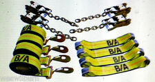8 pt carrier Rollback TieDown System Flatbed tow truck wrecker Chain & snap hook