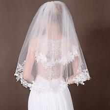 New Beautiful 2 Layer White Elbow Lace Edge Wedding Bridal Veil With Comb