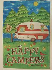 """HAPPY CAMPERS"" Red & White Teardrop Pull behind Trailer w/ fox flag Garden flag"