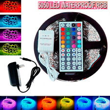 5M Flexible waterproof LED Strip Light RGB rope SMD 5050+44 Key Remote+12V power