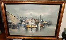 S.SANG FISHERMAN BOATS AT DOCK HUGE ORIGINAL OIL ON CANVAS SEASCAPE PAINTING