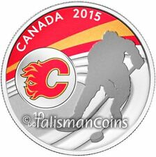 Canada 2015 NHL Calgary Flames National Hockey League $10 Silver Reverse Proof