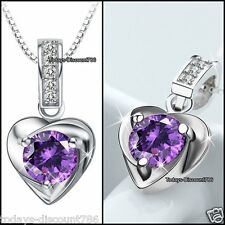 BLACK FRIDAY DEAL - Purple Crystal Heart Silver Necklace Xmas Gift For Her SALE