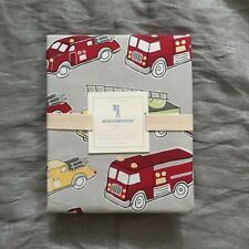 Pottery Barn Kids Firetrucks fire truck organic duvet cover only twin red grey