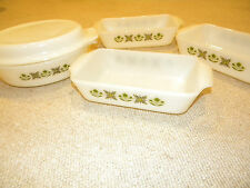 Set of 4 Anchor Hocking Fire King milk glass green flower baking dish pan lid