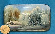 Russian hand pained UNIQUE ART LACQUER Box FEDOSKINO WINTER FOREST GUSACK signed